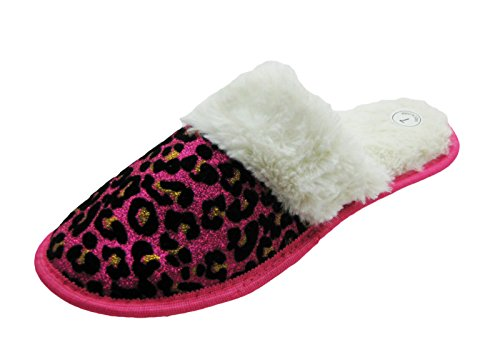Pictures of Sparkling Animal Printed House Slippers w/Fluffy 4
