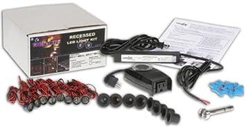 DEKOR Recessed LED Stair Light 8 Light Outdoor Deck Lighting Kit, Black
