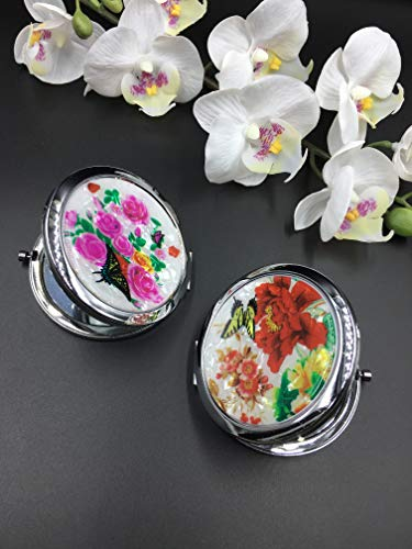 12 Pcs Beautiful Flower Design Party Favor Mirrors Set Mix 2 Style Pink/Red