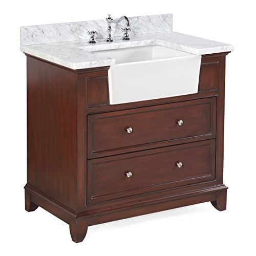 Sophie 36-inch Bathroom Vanity (Carrara/Chocolate): Includes a Carrara Marble Countertop, Chocolate Cabinet with Soft Close Drawers, and White Ceramic Farmhouse Apron Sink