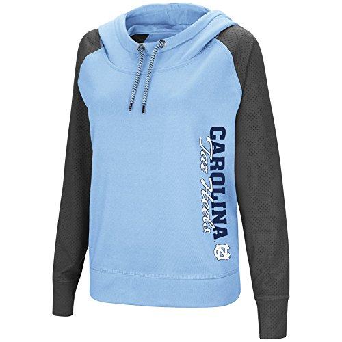 Colosseum Women's NCAA-TNT Funnel Neck Hoodie Pullover Sweatshirt-North Carolina Tar Heels-Sky Blue-Large