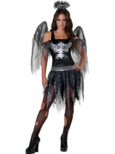 Angels Mesh Costumes (InCharacter Costumes, LLC Dark Angel, Black/Silver, Large)