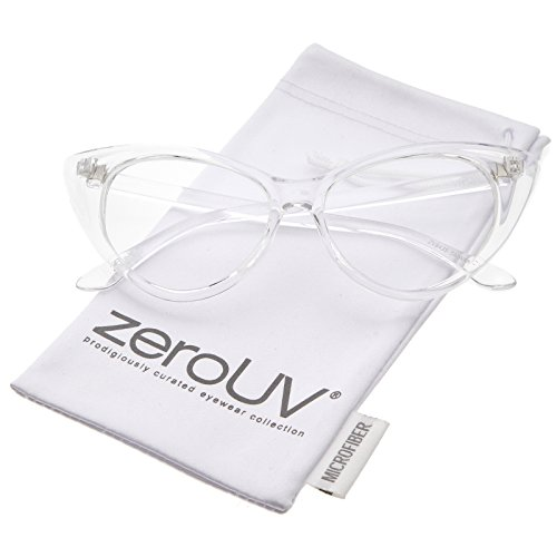 zeroUV - Retro High Sitting Temples Clear Lens Exaggerated Cat Eye Glasses 55mm (Clear / - Warranty Warby Parker