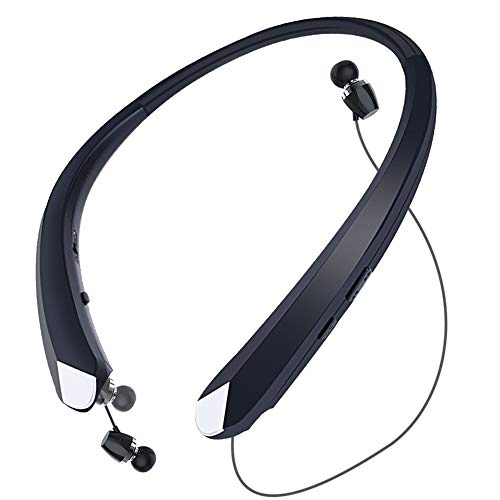 Wireless Headphones Neckband, Retractable Bluetooth Headset HD Stereo Earbuds Earphones with Mic, Vibrating Call Alert (Black)