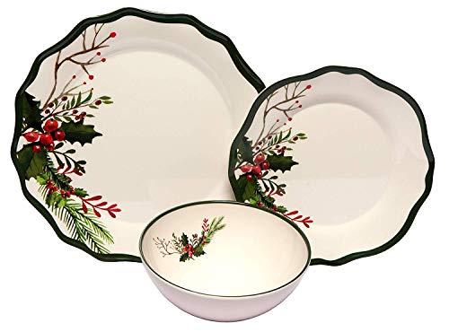 Melange 54-Piece Melamine Dinnerware Set (Winter Bouquet)   Shatter-Proof and Chip-Resistant Melamine Plates and Bowls     Dinner Plate, Salad Plate & Soup Bowl (18 Each) Bouquet Blue Salad Plate