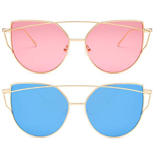 Livhò Sunglasses for Women, Cat Eye Mirrored/Transparent Flat...
