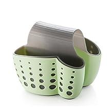 Skyseen Plastic Saddle Sponge Holder-Desk Organizer Pen Holder- Pocket Sink Sider Storage Basket for Sponges, Scrub Brushes