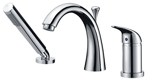 ANZZI Den Single-Handle Deck Mounted Bathtub Filler Faucet in Polished Chrome | Modern Design Deck Mount Lavatory Tub Faucet with Handheld Sprayer and Valve | FR-AZ801