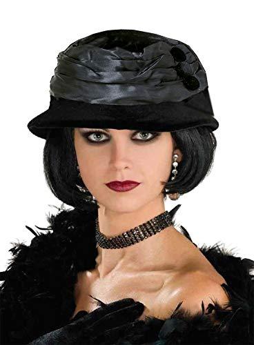 Velvet Hat All That Jazz Flapper Roaring 20's Black Halloween Costume Accessory -