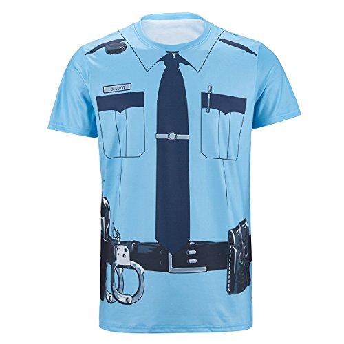 Funny World Men's Police Cop Uniform 3D Printed T-Shirt (XL) (Cop Uniform Halloween)