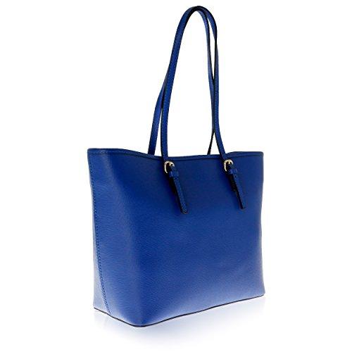 14 Made cm 40 pour Electrique Sac Porté Bleu in Cuir Florence Femme Véritable 28 épaule xaTIqwT7Pf