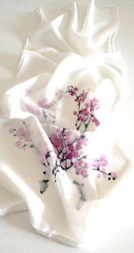 (Jingjingart Handmade Oblong 100% Silk Scarf Hand Painted Chinese Painting)
