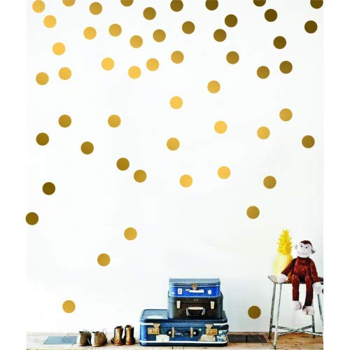 - Gold Wall Decal Dots (200 Decals) Posh Dots Metallic Gold Circle Stickers Baby Nursery Kids Room Trendy Cute Fun Vinyl Removable Round Polka Dot Decals Safe for Wall Paint (Gold, 1.0inch x 200pcs)