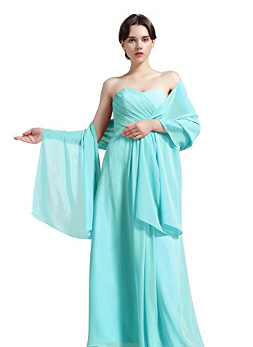 Sheer Soft Chiffon Bridal Women's Shawl For Special Occasions Aqua Blue 79