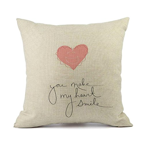 Hmlai Happy Valentine's Day Pillow Cases Linen Sofa Cushion Cover Home Decor Pillow Case,18