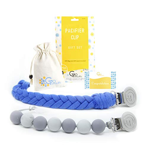 Teething Pacifier Clips BPA Free Silicone Beaded Binky Holder & Soft Chewable Braided Cotton Teether Toy Leash Baby Shower Gift (Set of 2 Blue&Gray)
