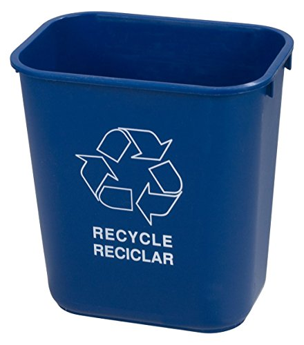 Carlisle 342913REC14 Plastic Recycle Deskside Wastebasket, 13 Quart, Blue (Waste Plastic Bins)