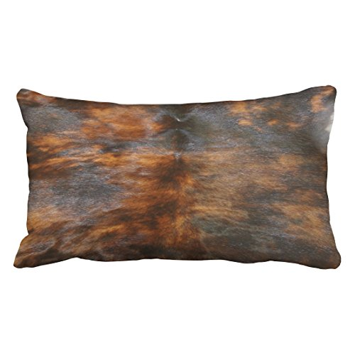 Shorping Zippered Pillow Covers Pillowcases 20X36 Inch cowhide simulated leather look brown black Decorative Throw Pillow Cover,Pillow Cases Cushion Cover for Home Sofa Bedding Bed Car Seats (Simulated Leather Living Room)