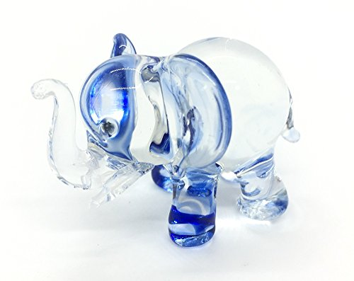 Audomna Shop Hand Blown Art Glass, Blue Elephant Miniature Animals Collection, Dollhouse Miniatures