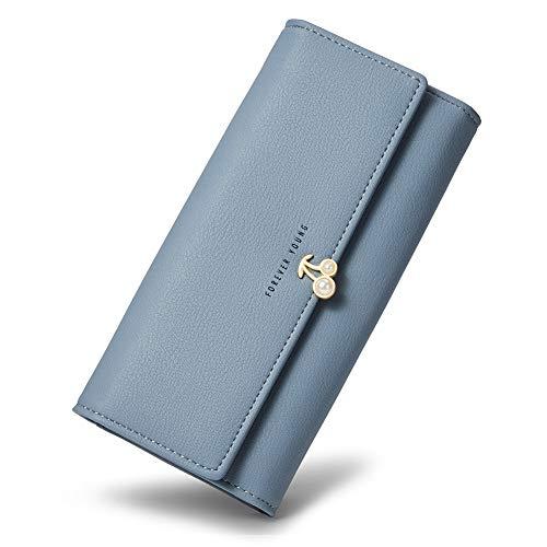 ather Designer Trifold Clutch Credit Card Holder Organizer Ladies Purse blue ()