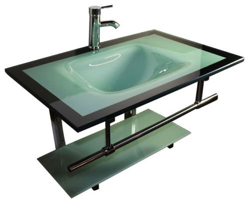 (31'' Glass Wall Mount Vanity Furniture Aqua Green Tempered Glass Bowl Vessel Sink Faucet)