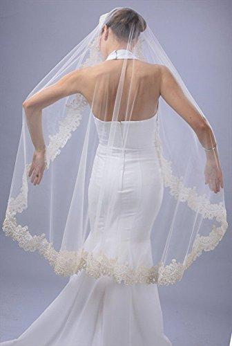 Bridal Wedding Mantilla Veil White 1 Tier Long Knee Length Beaded Lace Edge by Velvet Bridal (Image #3)