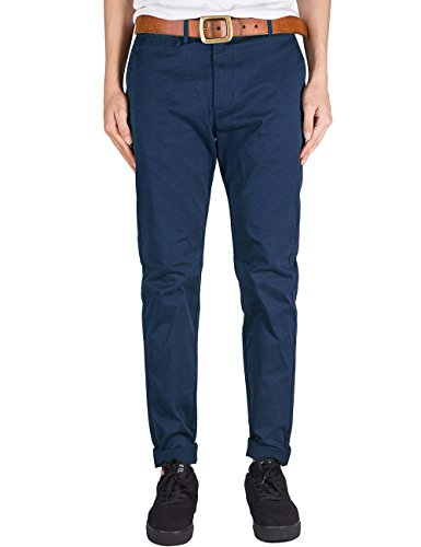 China Blue Apparel (THE AWOKEN Mens Business Casual Pants Chino Trousers Straight Styles Black (Navy Blue, S))