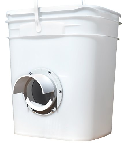 Chicken Feeder - Holds 20 Pounds of Pellets, Crumbles or Grain in Bucket - New Invention for 21st Century Chicken Owners (One Feed Port (2-3 Hens))