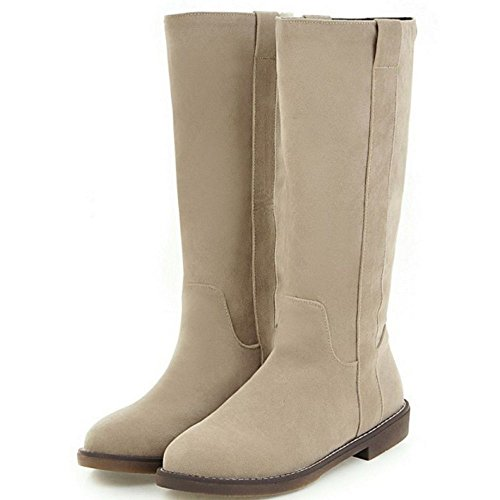 COOLCEPT Women's Fashion Flat Mid Calf Western Boots Size EU31-43 Beige bByA1P0