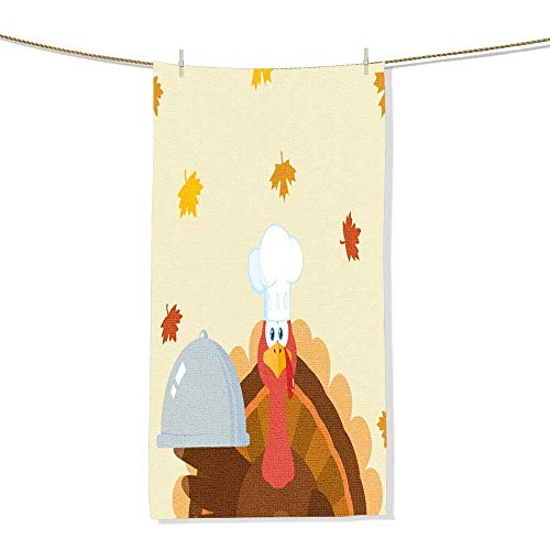 (FootMarkhome Custom Patterned Towel, Turkey Chef Cartoon Mascot Character Holding A Cloche Platter Velour Beach Towel-Size:11.8