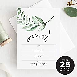 Bliss Paper Boutique 25 Invitations with Envelopes for All Occasions, Greenery Invites Perfect for: Weddings, Bridal Showers, Engagement, Birthday Party or Special Event — Fill in Rustic invites from