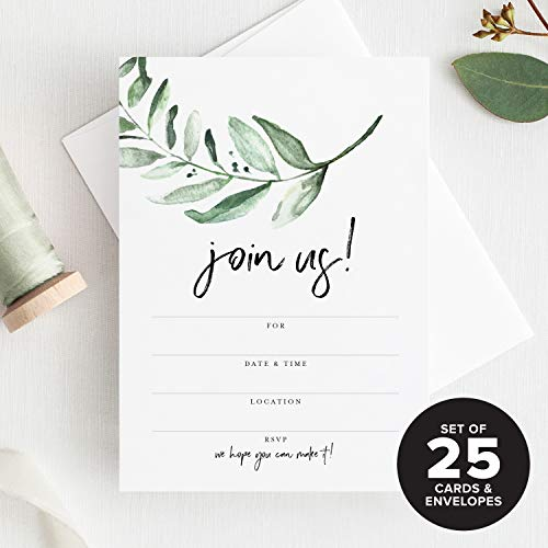 Bliss Collections 25 Invitations with Envelopes for All Occasions, Greenery Invites Perfect for: Weddings, Bridal Showers, Engagement, Birthday Party or Special Event - Fill in Rustic invites from