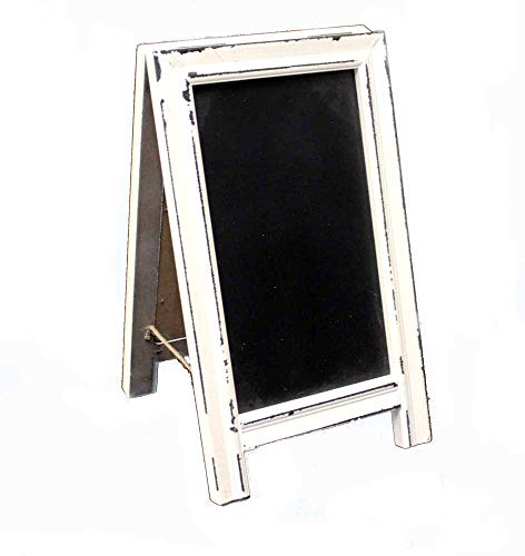 OBI Small Wood A-Frame Double-Sided Chalkboard Sign - Whitewashed Table Top Rustic Foldable Message Board Easel by OBI (Image #5)