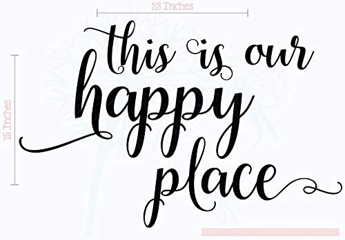 This is Our Happy Place Wall Decals Stickers Vinyl Lettering Art Home Décor 23x15-Inch Black ()