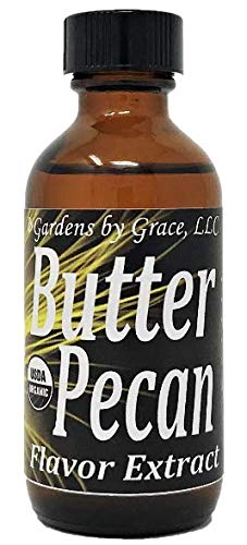 Organic Flavor Extract Butter Pecan | Use in Gourmet Snacks, Candy, Beverages, Baking, Ice Cream, Frosting, Syrup and More | GMO-Free, Vegan, Gluten-Free, 2 oz