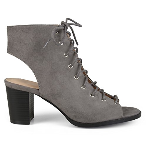 Brinley Co. Womens Faux Suede Lace-up High Heel Booties Grey, 9 Regular US