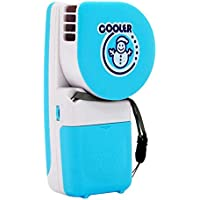 Handy Cooler Small Fan, Mini-Air Conditioner Portable Speed Adjustable Fan Runs on Batteries or USB (Blue)