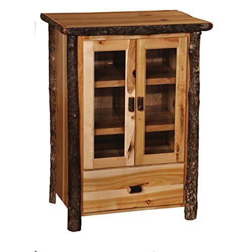 Fireside Lodge Authentic Hickory Log Media Cabinet - Handcrafted USA in Euro Style