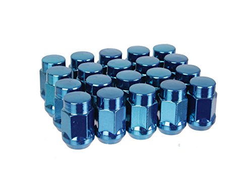 (20) UberTechnic Blue Bulge Lug Nuts - Metric 12x1.5 Threads - Conical Cone Taper Acorn Seat Closed End - 1.4