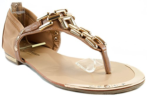 Forever Shoes Womens Tyler-18 Slip-on Sandals With Decorative Chain on Straps Tan U5t2R6BBQ