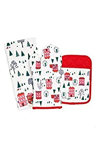 Kate Spade New York 3pc Kitchen Set - Oven Mitt, Pot Holder and Kitchen Towel, Turquoise Order's Up