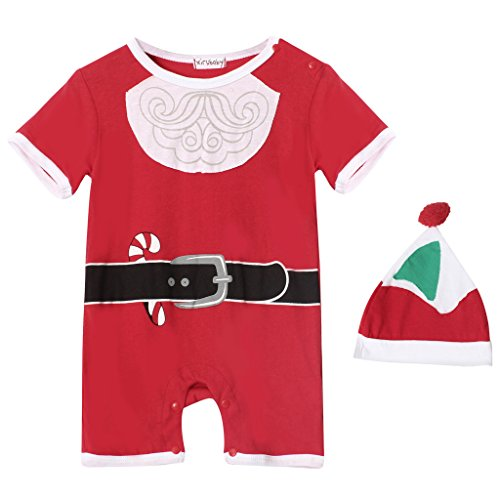 Kiddom Babys Christmas Costumes Santa Claus Snowman Xmas Onesie Romper With Hat