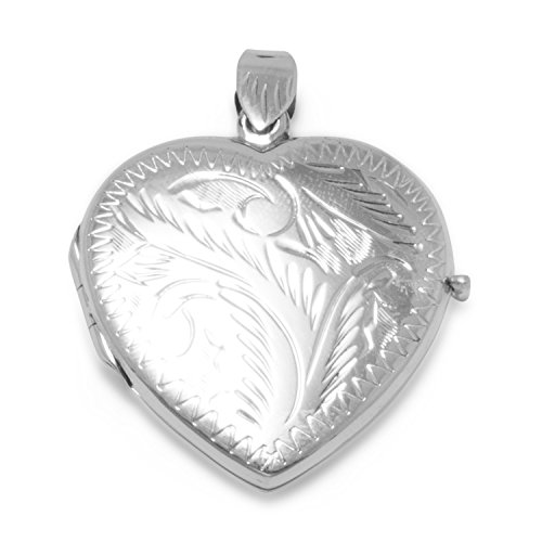 JewelryWeb 925 Sterling Silver Large Etched Heart Locket 36x30mm Locket Holds 2 Pictures