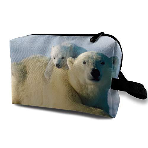 Little Polar Bear Cosmetic Bags Makeup Organizer Bag Pouch Zipper Purse Handbag Clutch Bag -