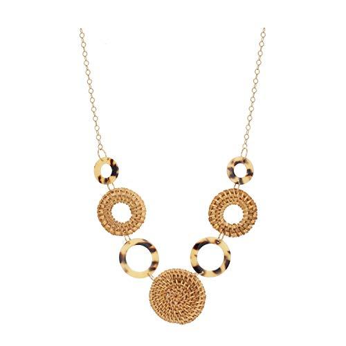 Chic Jewels - Acrylic Bohemian Resin Round Wood Pendants Leopard Pattern Sunburst Wicker Necklace for Women 30