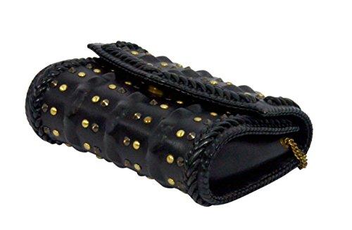 Paint aus echtem Leder, schwarz Nieten Woven Kupplung (pt2152cl107)