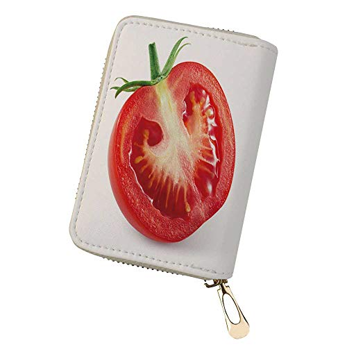 Womens Credit Card Holder Wallet tomato half of vege Leather Small ID Card ()