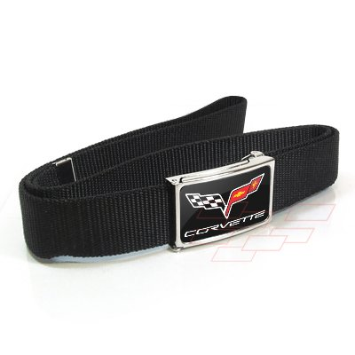 Chevrolet Corvette C6 Logo Metal Buckle Black Nylon Strap Belt (Metal Licensed Belt Buckle)