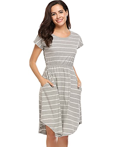 Stripe Casual Dress - Halife Women's Summer Casual Stripe Elastic Waist Loose Beach Midi Dress Grey,M