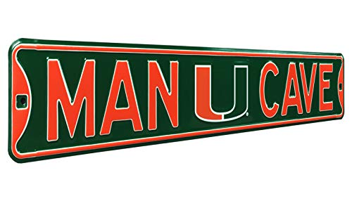 Authentic  Street Signs NCAA MAN CAVE, Officially Licensed, REAL 3 Foot, Premium Grade Solid Steel Embossed STREET SIGN- Prime Wall Decor for Home, Office, Garage- Perfect Gift for Him!! (Hurricanes Sign Miami)